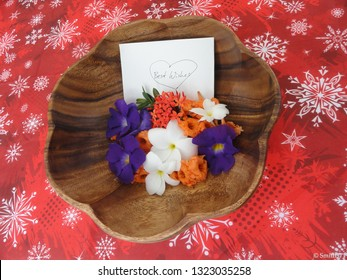 Echang, Palau - July 1, 2018. Best wishes for the newly wedded couple, simple but beatiful adornment.