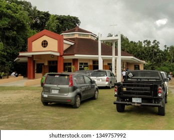 Echang, Palau - July 1, 2018. Parking in front of St. Joseph Church.