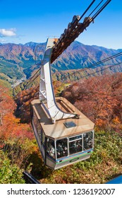 Echigo Yuzawa, Japan-October 2018 :Tashiro Ropeway is A large ropeway, holds up to 101 people. Tashiro is also connected to the Mt. Naeba  via the Dragondola during the peak season.