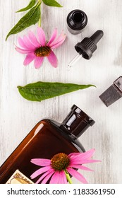 Echinacea flowers extract in glass jar and medicine dropper from above on wooden table.
