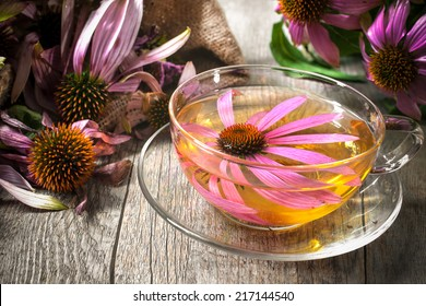 Echinacea purpurea. Cup of herbal echinacea tea on wooden table