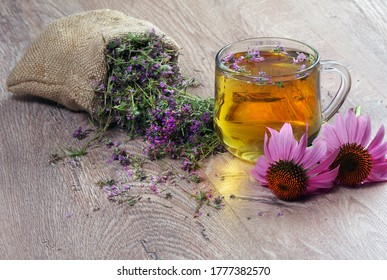 Echinacea purpurea. Cup of herbal echinacea and thyme tea on wooden table copy space