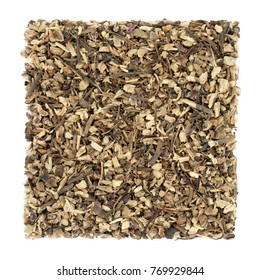 Echinacea root herb used in alternative herbal medicine to boost the immune system, helps to protect against colds, on white background. Asteraceae, purpurea.