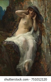 ECHO, by Alexandre Cabanel, 1874, French painting, oil on canvas. Echo was the beautiful nymph of Greek mythology cursed by Hera to not speak but only repeat the words of another person. Cabanels pain