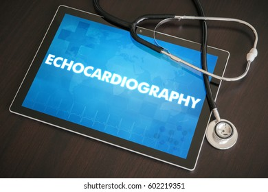 Echocardiography (cardiology related) diagnosis medical concept on tablet screen with stethoscope.