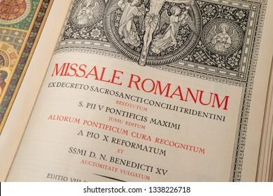 Echternach / Luxembourg - 03 10 2019: Catholic liturgical book. Order of Mass in Latin. The extraordinary rite.
