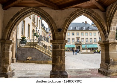 ECHTERNACH, LUXEMBOURG - MAY 25, 2016: View to the Market Square from the arcades of the Denzelt, the former palace of justice in Echternach - the oldest town in Luxembourg