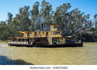 Echuca, Australia - October 3, 2019: Authentic original Paddle Steamer Emmylou on Murray River