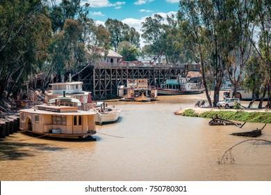 Echuca, Victoria, Australia - Nov 6, 2017: Paddle boats on the Murray river