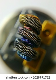 E-cigarette coil clapton style. Atomizer setup