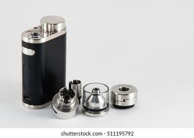 E-cigarette RDA, RTA rebuildable atomizer. Close up