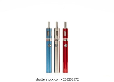 E-Cigarettes (Electronic cigarettes) blue, silver and red isolated on white background