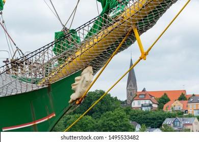 Eckernforde, Germany, June 11, 2018 - The large sailing ship Alexander von Humboldt in the port of Eckernforde Baltic Sea