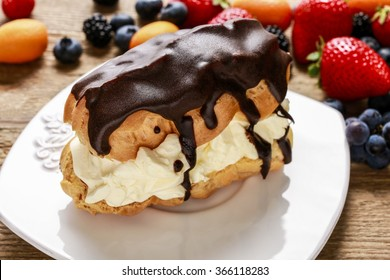 Eclair cake and colorful fruits