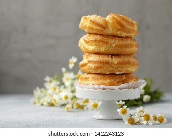 eclairs choux pastry with butter cream for dessert