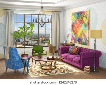 Eclectic interior decor a living room  with comfortable sofa and  big window, 3d rendering