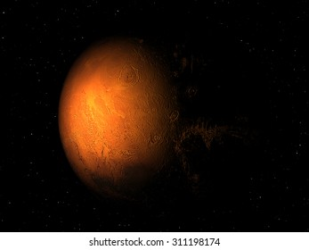 Eclipse of  Planet Mars with stars. Elements of this image furnished by NASA