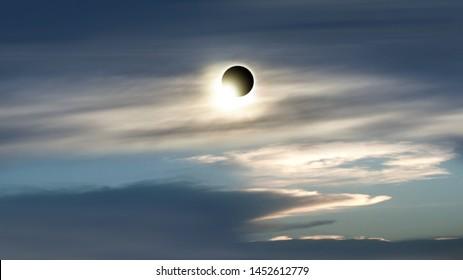 eclipse of the sun . cloudy landscape