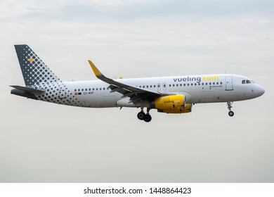 EC-MXP, July 11, 2019, Airbus A320-232-8244 landing at Paris Charles de Gaulle airport at the end of flight Vueling VY8830 from Seville