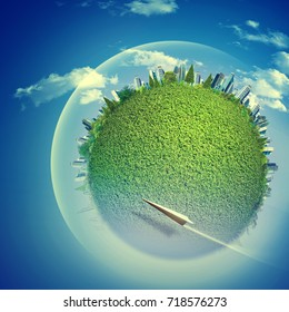 Eco backgrounds with Earth globe and flying jet over blue skies