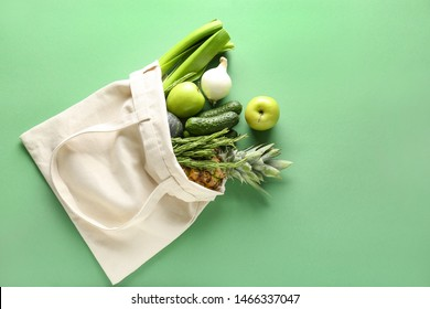 Eco bag with products on color background - Shutterstock ID 1466337047