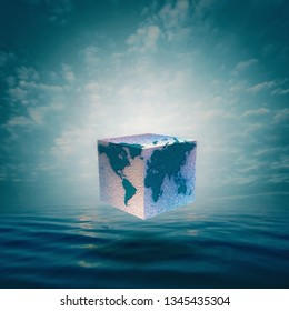 Eco balance with cube world. Abstract natural backgrounds