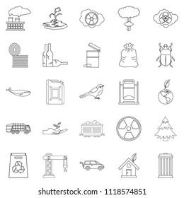 Eco catastrophic icons set. Outline set of 25 eco catastrophic icons for web isolated on white background