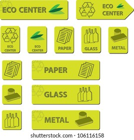 Eco Center Icons for indicate diverse separations area