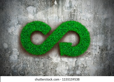 ECO and circular economy concept. The green grass in form of arrow infinity recycling symbol on dirty concrete wall.