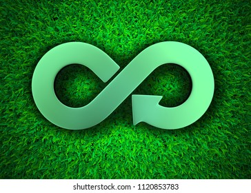 ECO and circular economy concept. Metallic arrow infinity recycling symbol on green grass meadow background, top view, 3D illustration.