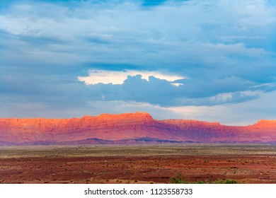 Eco cliffs at sunset near Grand Canyon with spectacular cloudscape