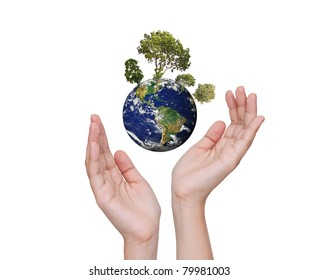 Eco concept : Earth in hands isolated on white