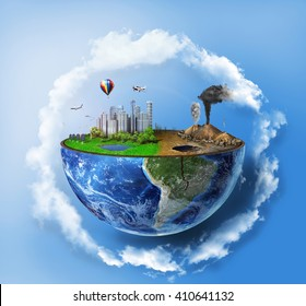 Eco concept. Half sphere of earth with light side and darker side in clouds. One side is eco city, different side is empty and dry ground with mountains.