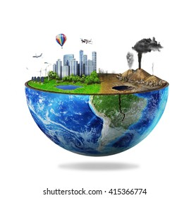 Eco concept. Half sphere of earth with light side and darker side isolated on white. One side is eco city, different side is empty and dry ground with mountains.