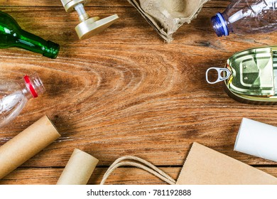 Eco concept with recycling symbol on table background top view? Environmental protection plan