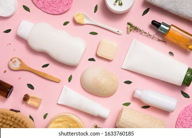 Eco cosmetic. Healthy lifestyle background. Still life. Handmade soap. Top view, flat lay. Natural organic beauty cosmetics spa concept.