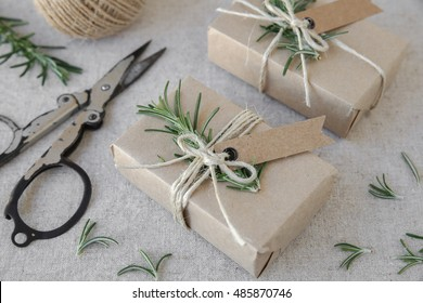 Eco craft holidays gift boxes mock up, reuse, zero waste, plastic free, sustainable  living concept