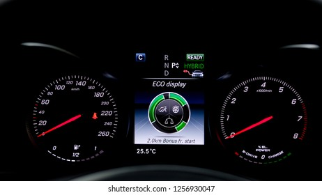 Eco Drive System display on LCD screen, The New technology in hybrid car.
