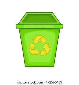 Eco dustbin icon in cartoon style isolated on white background. Ecology symbol