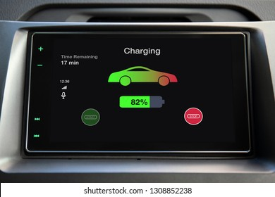 eco electric car touch multimedia system with charging battery on the screen