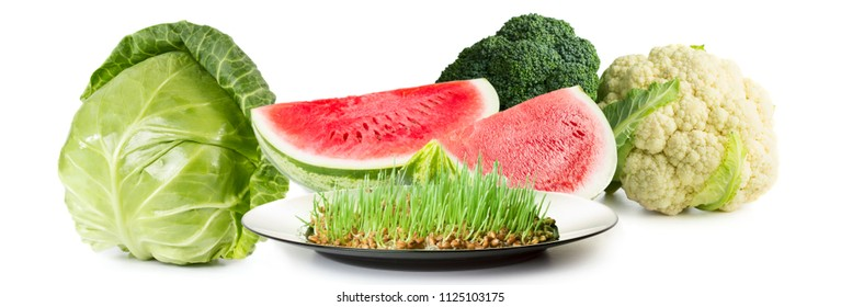Eco food. Cabbage, cauliflower, watermelon, broccoli isolated on white background