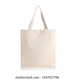 Eco Friendly Beige Colour Fashion Canvas Tote Bag Isolated on White Background. Reusable Bag for Groceries and Shopping. Design Template for Mock-up. Front View - Shutterstock ID 1547417798