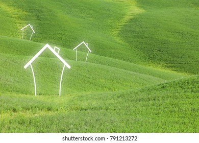 Eco friendly concept home houses healthy living on green grass landscape background.