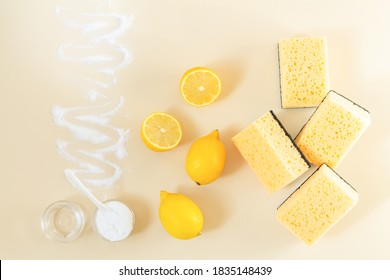 Eco friendly detergents for domestic cleaning. Fresh lemon, vinegar, baking soda
