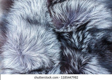 Eco friendly fashion concept. Dyed furry coat in gray, white and black colors background, close up. Artificial fur for texture or background. Luxury and elegant fluffy clothes