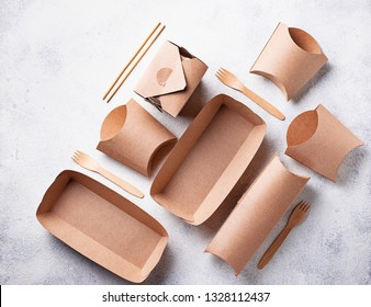 Eco friendly fast food containers from paper. Top view