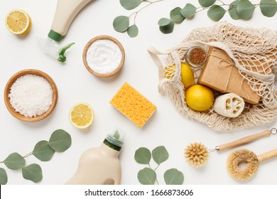 Eco friendly natural cleaners, cleaning products, chemical detergent bottles, flat lay on white background