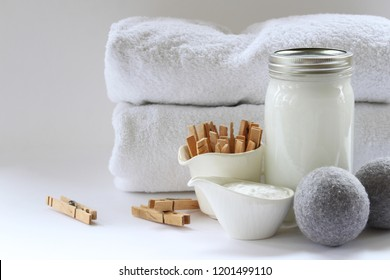 Eco friendly natural laundry supplies. Copy space.