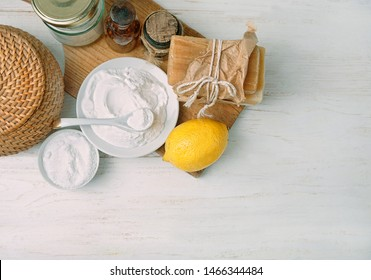 Eco friendly product, home cleaning. essential oil, vegan soap, baking and washing soda, vinegar, lemon. Natural domestic cleaning. Healthy Lifestyle. simple recipes homemade. zero waste detergent