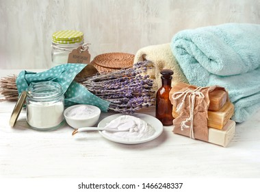 Eco friendly products for home cleaning. DIY ingredients - essential oil, lavender, soap, baking and washing soda, vinegar. Natural domestic cleaning. zero waste detergent